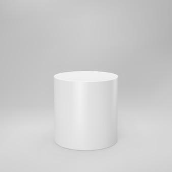 Weiße vorderansicht des 3d-zylinders mit perspektive lokalisiert auf grau