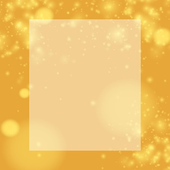 Weiße vorlage für text. goldstaub mit hellen funkeln auf goldenem hintergrund. weißes blatt als platz für ihren text. flaches design der vektorillustration.