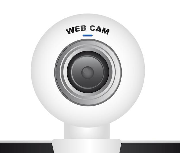 Weiße web-cam über weißem hintergrund vektor