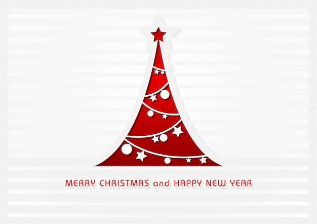 Weiße weihnachtsgrußkarte mit rotem abstraktem weihnachtsbaum