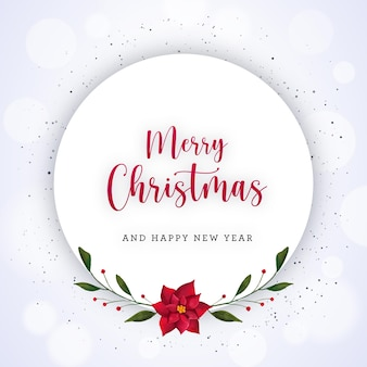 Weiße weihnachtskarte mit aquarellblumen und -blättern
