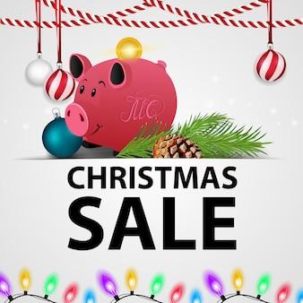 Weiße weihnachtsrabattfahne mit geschenken und sparschwein