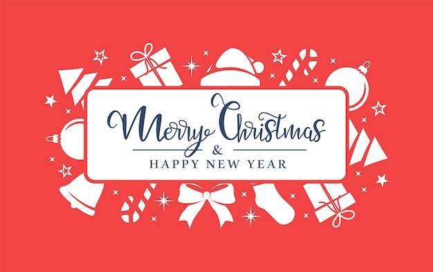 Weiße weihnachtssymbole sind zufällig auf einem roten hintergrund angeordnet.
