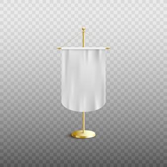Weiße wimpelflagge oder leere vertikale stofffahne, die auf realistischer illustration des halters auf transparentem hintergrund steht. werbeschildvorlage.