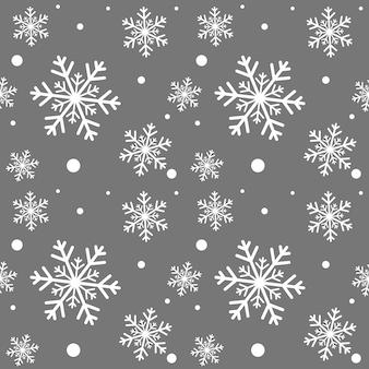 Weiße winterschneeflocken nahtloses muster.