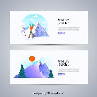 Weiße wintersport banner