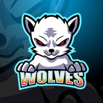 Weiße wolfsmaskottchen-esportillustration