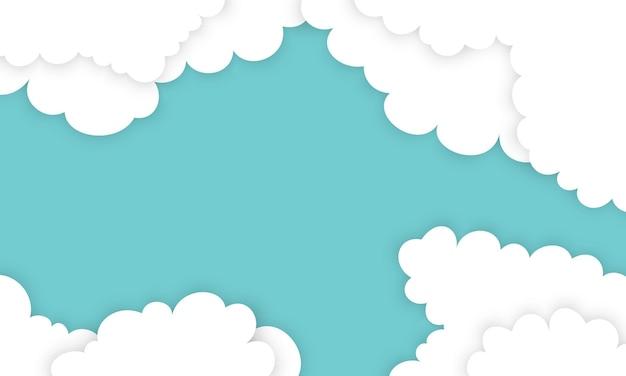 Weiße wolke in papierstilen auf blauem hintergrund. muster für ihr design.