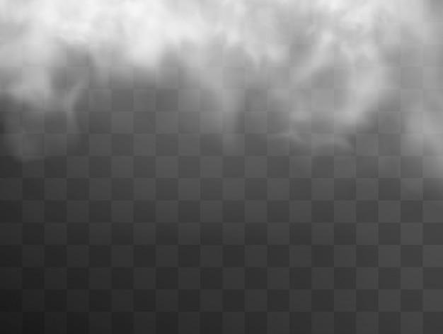 Weiße wolke, nebel oder durchsichtiger rauch.