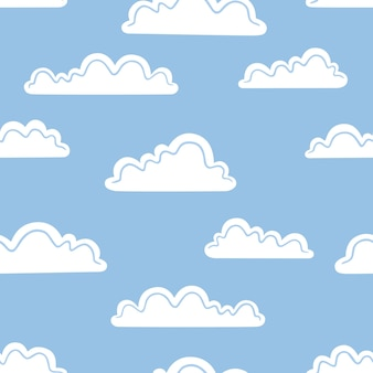 Weiße wolken auf blauem grund. vektor nahtlose muster