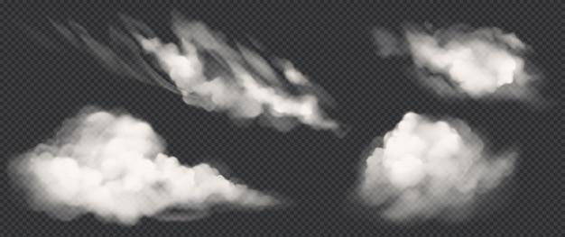 Weiße wolken setzen, realistische vektorrauchikonen