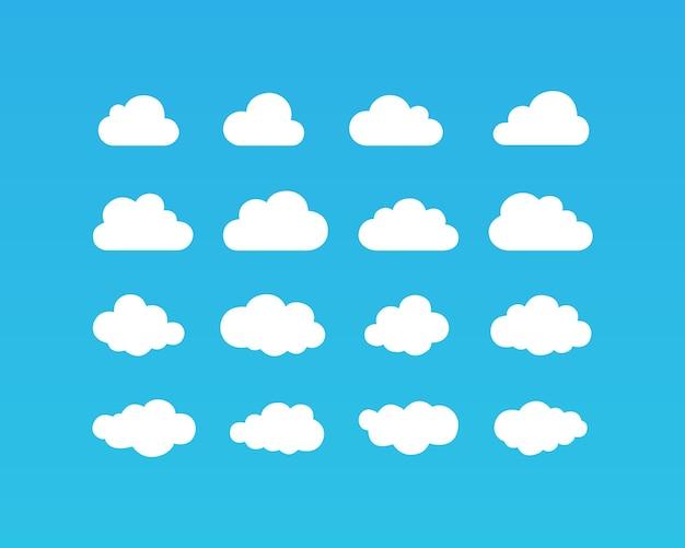 Weiße wolken-symbol auf blauem hintergrund. vektor-eps 10