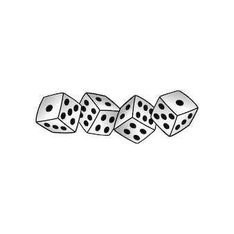 Weiße würfel risk taker glücksspiel vektorillustrationen
