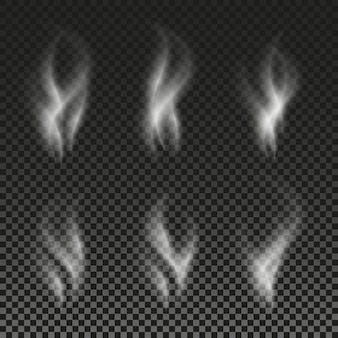 Weiße zigarettenrauchwellen auf transparentem hintergrundvektorillustration stellen phantombildschatten ein