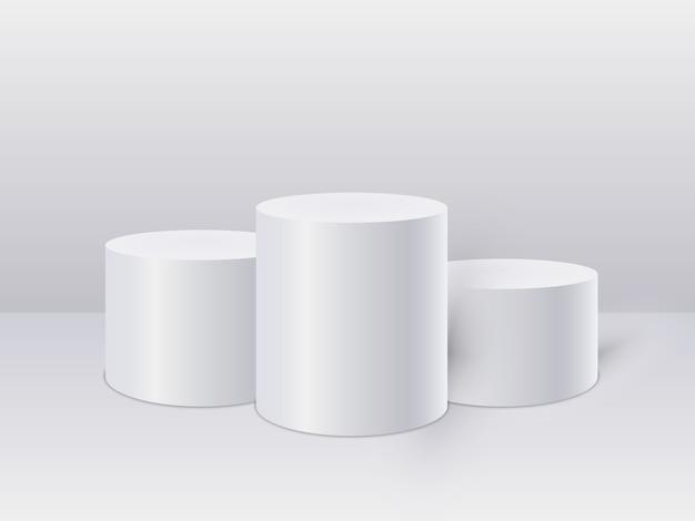 Weiße zylinderschablone. 3d base stand podium oder studio podest round platform showroom. illustration.