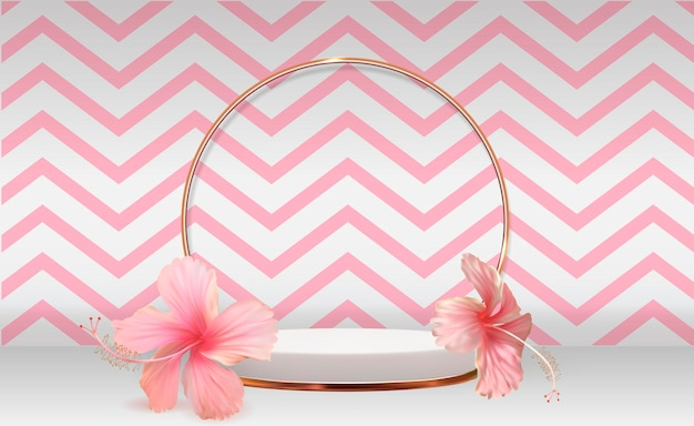 Weißer 3d sockelhintergrund mit hibiskusblume für kosmetisches produktpräsentationsmodemagazin kopieren raum