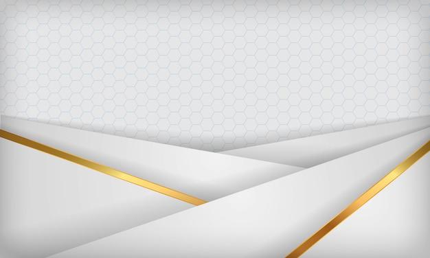 Weißer abstrakter deckungshintergrund mit goldenen linien.