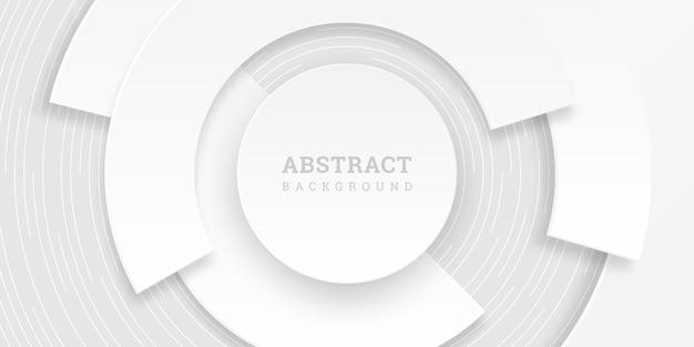 Weißer abstrakter hintergrund mit kreisen im papierstil