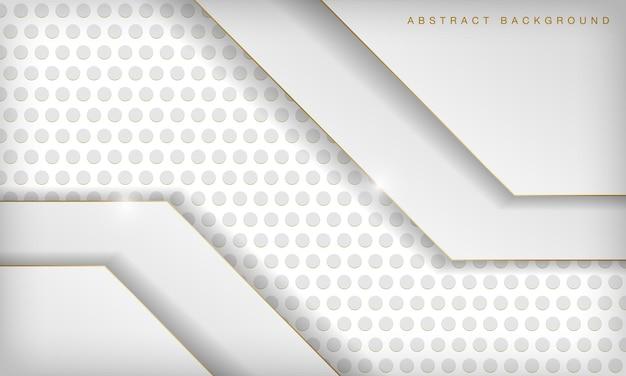 Weißer abstrakter luxusdimensionshintergrund mit goldenen linien und kreismuster