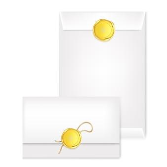 Weißer anderer briefumschlag mit goldstempel. illustration des wachs-luxus-siegels