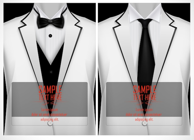Weißer anzug und smoking mit schwarzer fliege