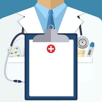 Weißer arztanzug mit verschiedenen pillen, zwischenablage und medizinischen geräten in den taschen. illustration im flachen stil