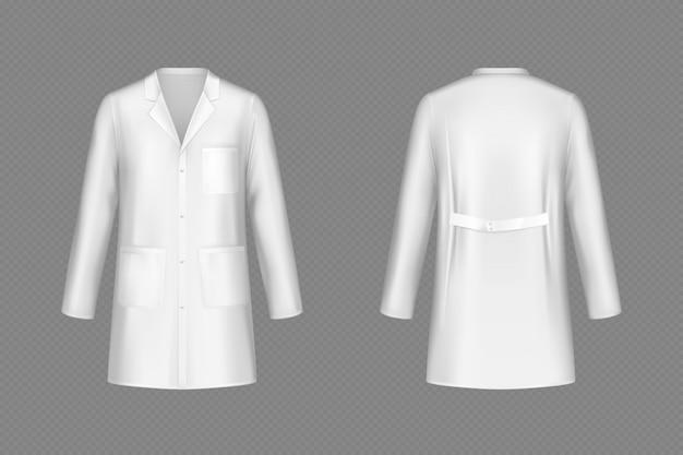 Weißer arztmantel des vektors, medizinische uniform