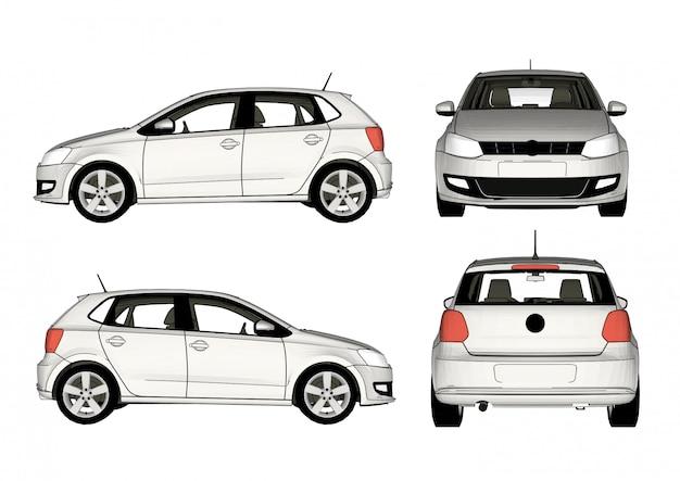 Weißer autovektor, alle ansichten