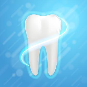 Weißer backenzahn grafikdesignelement für zahnarzt. realistischer menschlicher zahn.