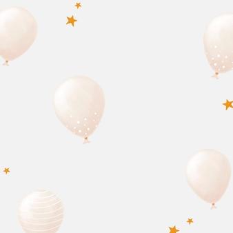 Weißer ballon gemusterter hintergrundvektor niedliche handgezeichnete art