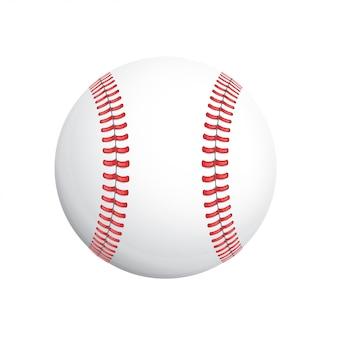 Weißer baseballball mit rotem stich