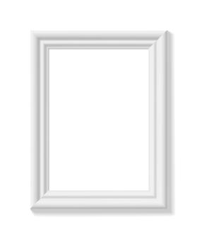 Weißer bilderrahmen. hochkant. minimalistischer detaillierter fotorealistischer rahmen. grafikdesignelement für scrapbooking, präsentation von kunstwerken, web, flyer, poster. vektor-illustration.