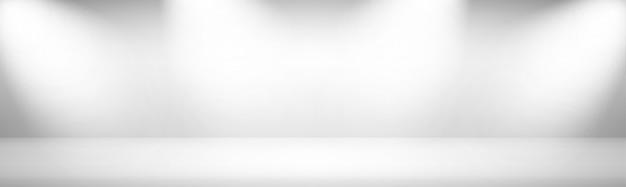 Weißer breiter verlauf moderner studio-schaufensterhintergrund mit lichtern