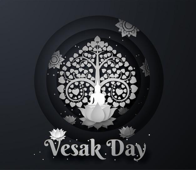 Weißer buddha auf lotos mit bodhi-baum glücklicher vesak-tageshintergrund