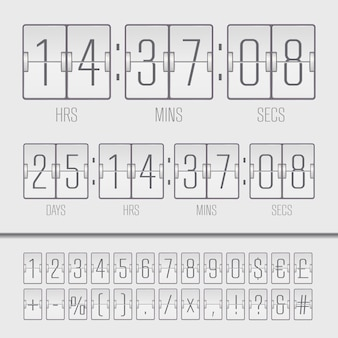 Weißer countdown-timer und anzeigetafelnummern