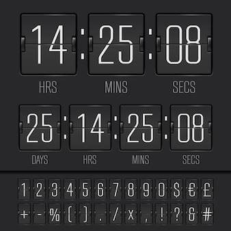 Weißer countdown-timer und scoreboard-nummern. vektor-eps10-illustration