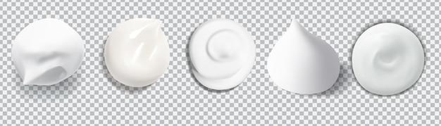 Weißer cremiger tropfen-hautpflege-cremeschaum für schönheitskonzept isolierte vektortextur-lagerillustration.