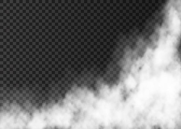 Weißer dampf isoliert auf transparentem hintergrund nebel-spezialeffekt