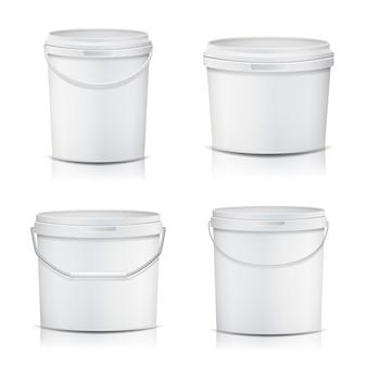 Weißer eimer set container
