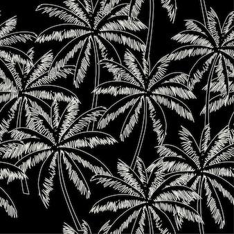 Weißer entwurfspalmen-schwarzhintergrund