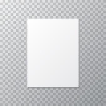 Weißer freier raum mit schatten auf einem transparenten
