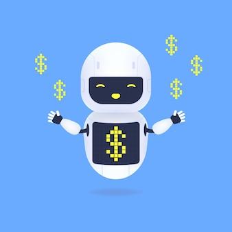 Weißer freundlicher roboter mit dollarzeichensymbol auf dem bildschirm.