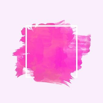Weißer geometrischer rahmen auf aquarellfleck