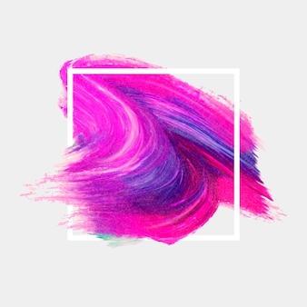 Weißer geometrischer rahmen mit aquarellfleck