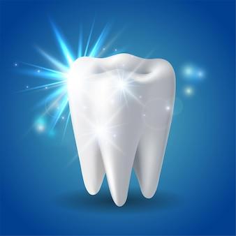 Weißer glänzender zahn, konzeptaufhellung des menschlichen zahns. zahnschutz, zahnpflege zahnmedizinisches vektorsymbol. 3d-vektor-illustration.