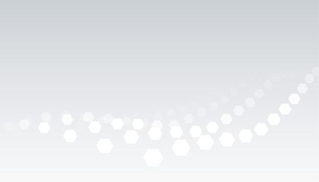 Weißer grauer hintergrund mit sechseckigem wellenmusterdesign