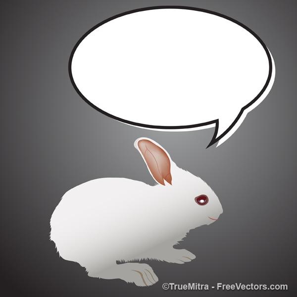 Weißer hase mit dialogfeld