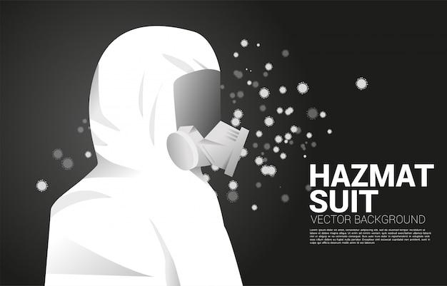 Weißer hazmat-anzug mit vollmasken- und viruspartikelhintergrund. konzept für biochemische gefahren und virenschutzsituation