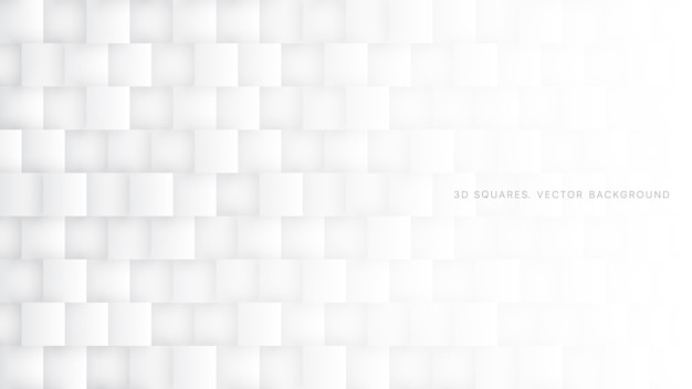 Weißer heller abstrakter hintergrund der quadrat-3d