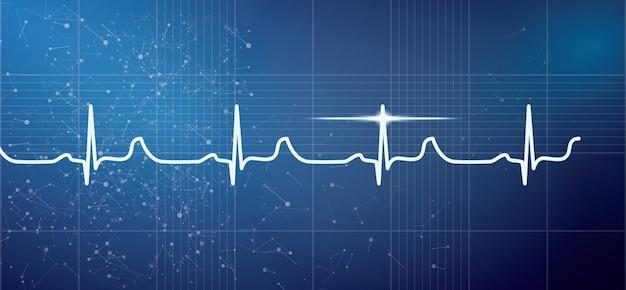 Weißer herzschlag-puls-elektrokardiogramm-rhythmus auf blauem hintergrund. vektor-illustration. gesundheitswesen ekg oder ekg medical life concept für die kardiologie.